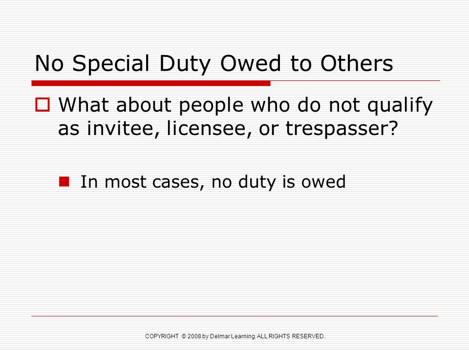 No Special Duty Owed to Others