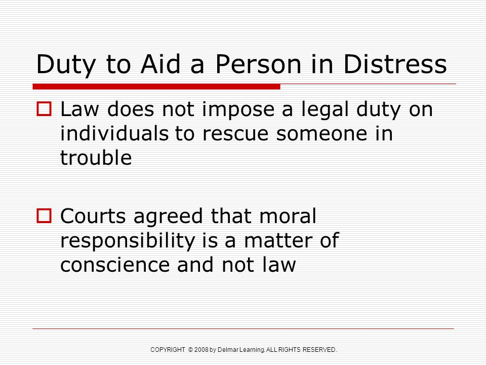 Duty to Aid a Person in Distress