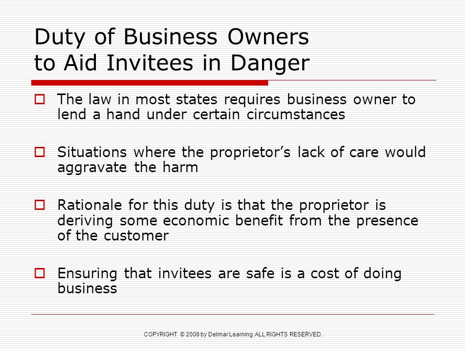 Duty of Business Owners to Aid Invitees in Danger