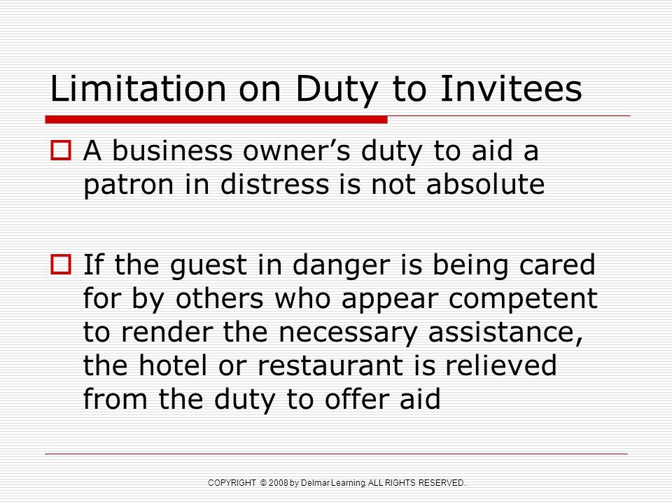 Limitation on Duty to Invitees