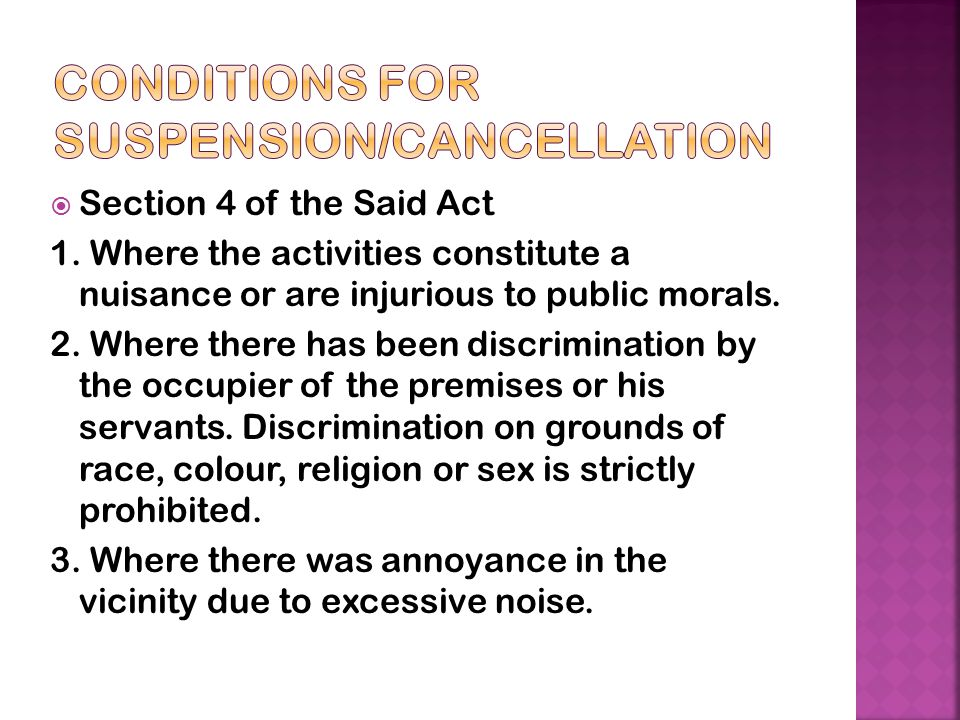 Conditions for Suspension/Cancellation