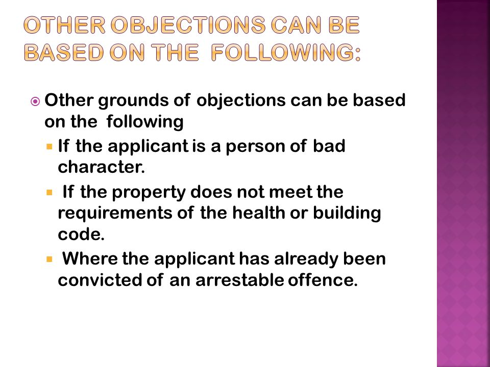 Other objections can be based on the following: