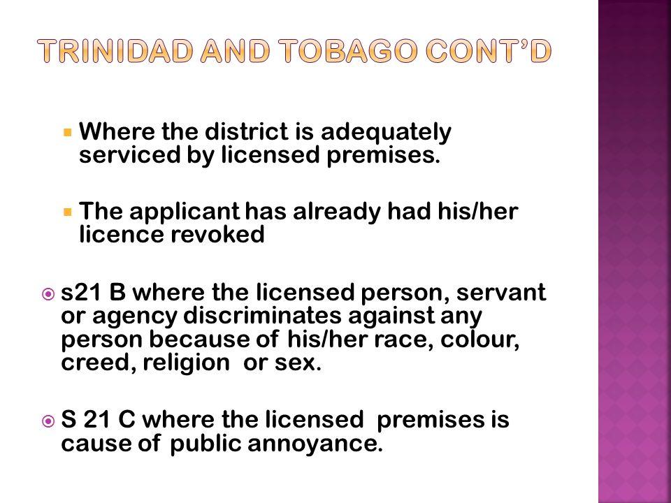 Trinidad and Tobago Cont'd