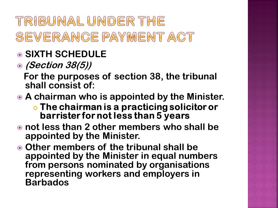 Tribunal under the Severance Payment Act