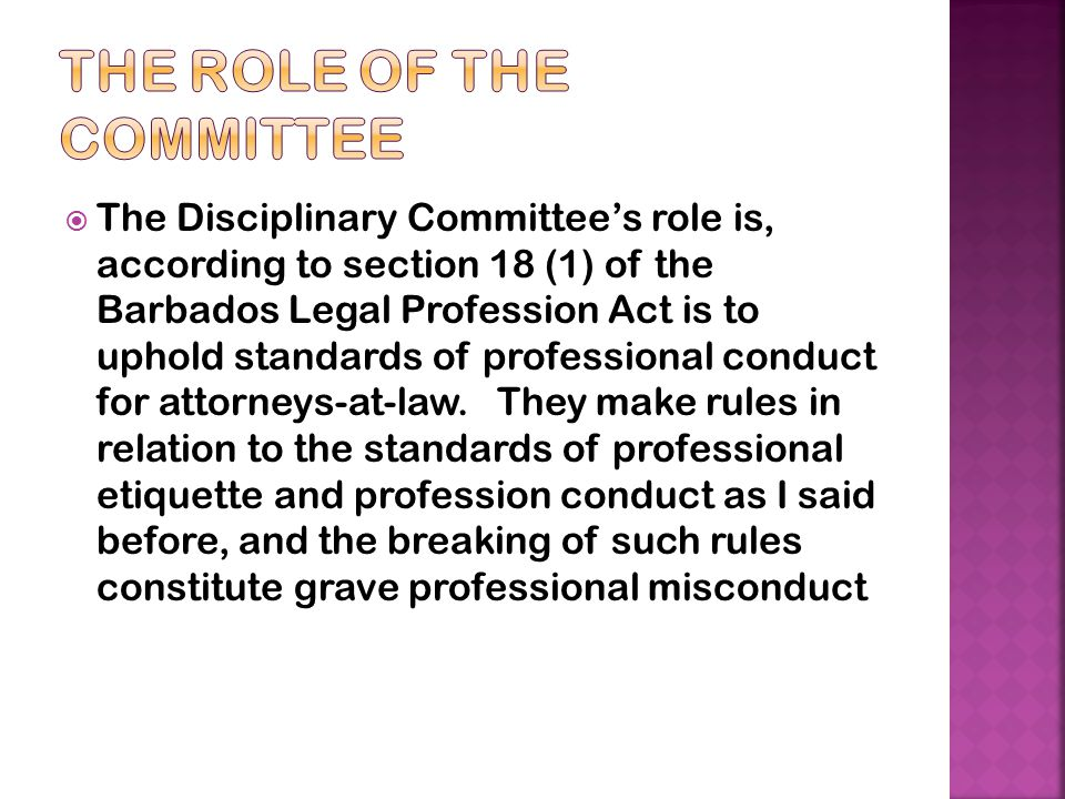 The role of the committee
