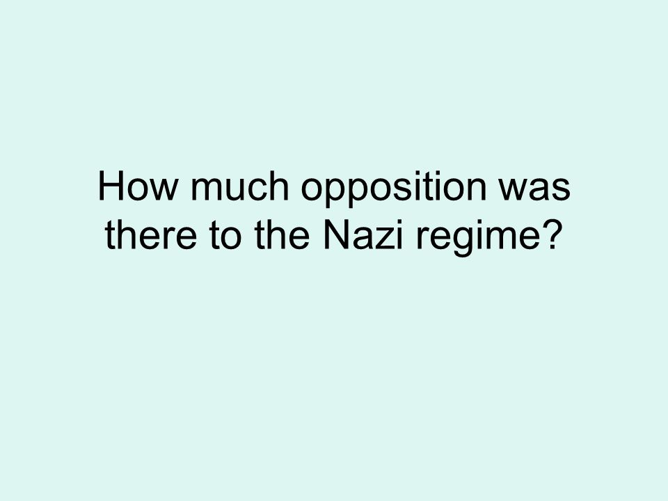 How much opposition was there to the Nazi regime