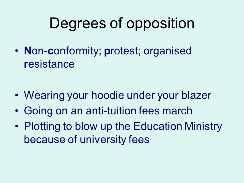 Degrees of opposition Non-conformity; protest; organised resistance