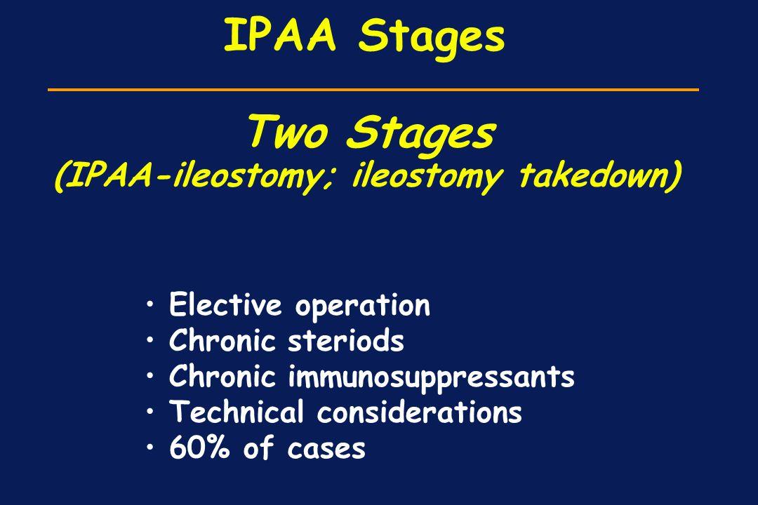 IPAA Stages Two Stages (IPAA-ileostomy; ileostomy takedown)