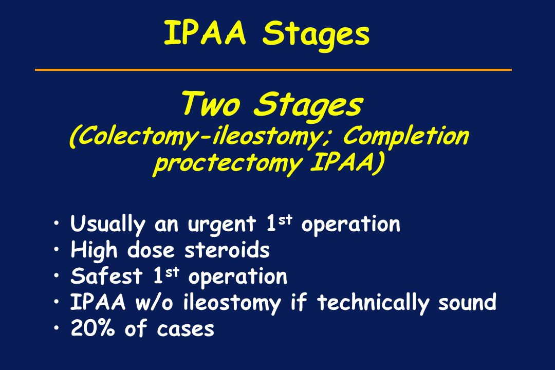 IPAA Stages Two Stages (Colectomy-ileostomy; Completion proctectomy IPAA)