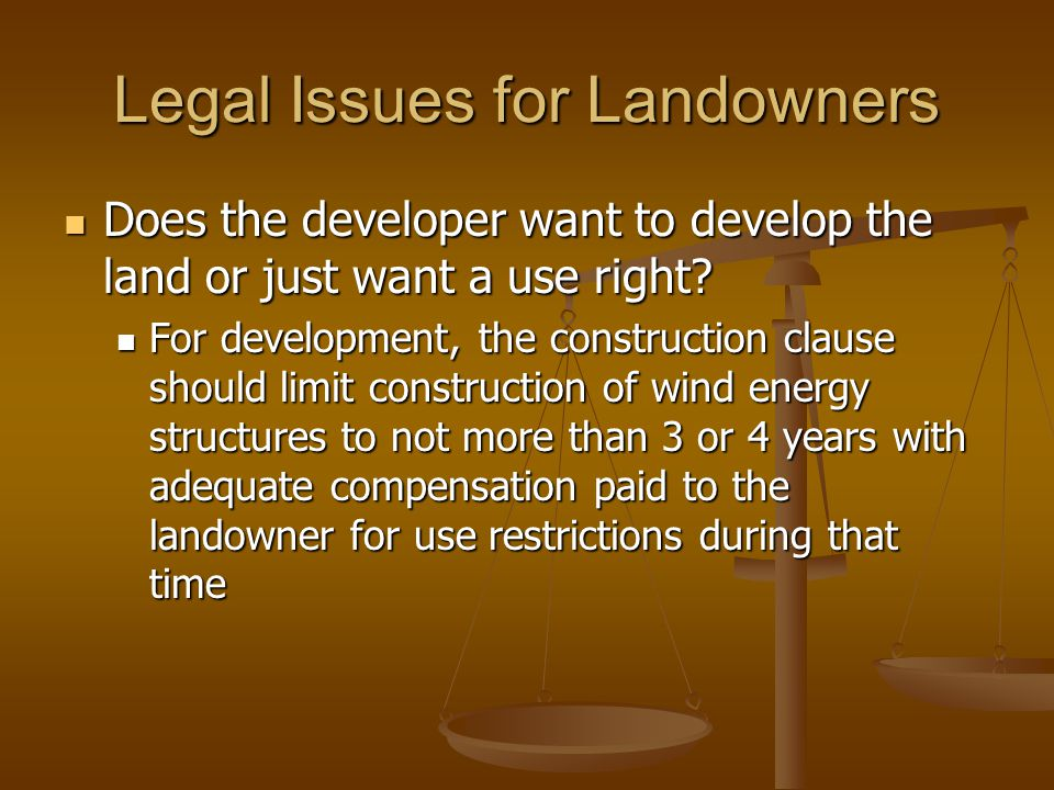 Legal Issues for Landowners