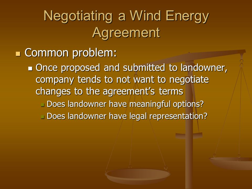 Negotiating a Wind Energy Agreement