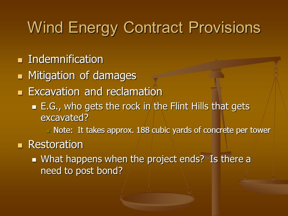 Wind Energy Contract Provisions