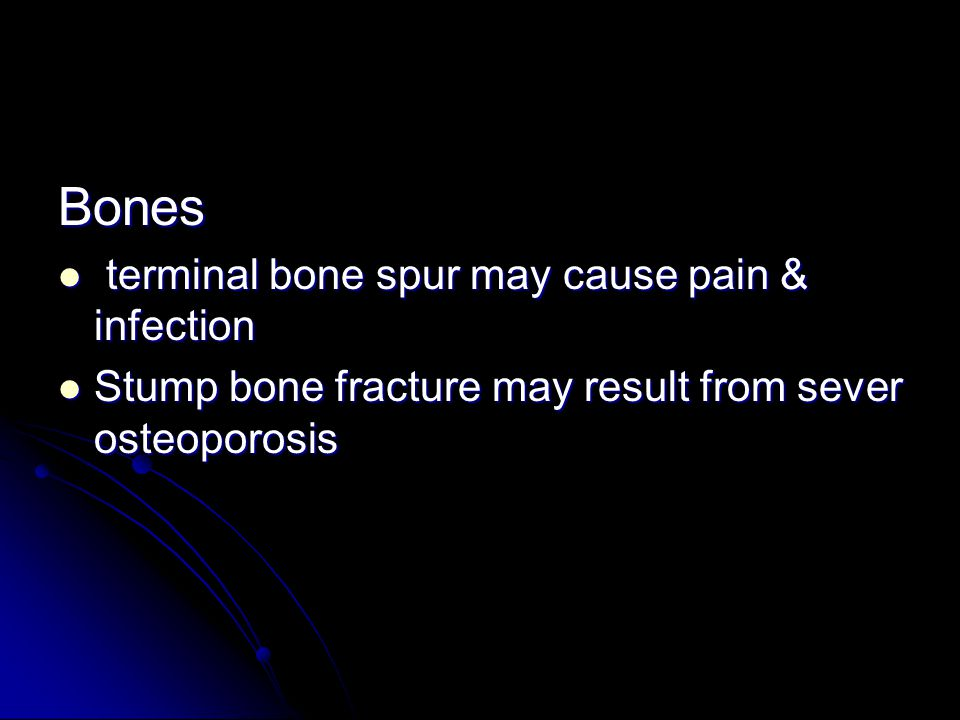 Bones terminal bone spur may cause pain & infection