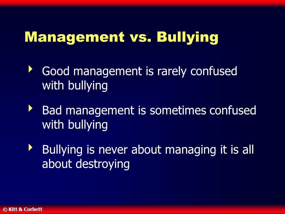 Management vs. Bullying