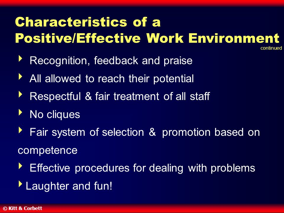 Characteristics of a Positive/Effective Work Environment