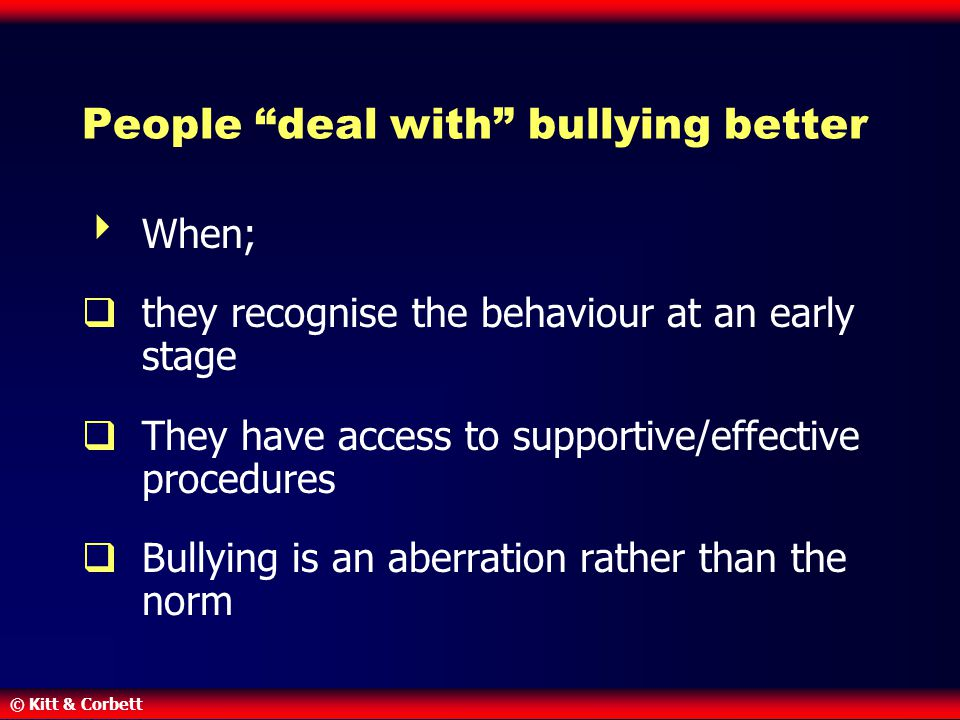 People deal with bullying better