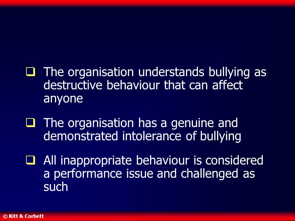 The organisation understands bullying as destructive behaviour that can affect anyone