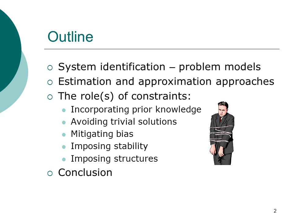 Outline System identification – problem models