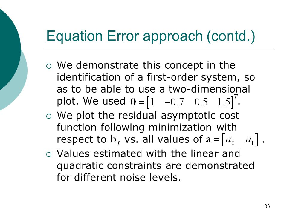 Equation Error approach (contd.)