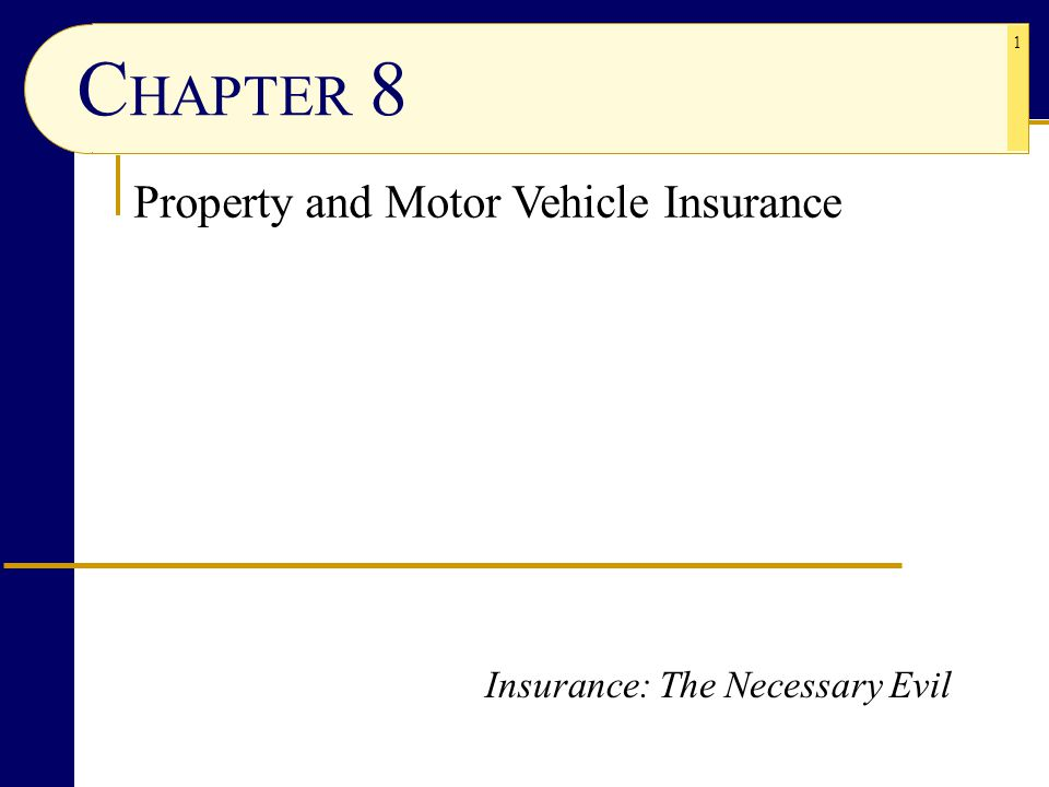 CHAPTER 8 Property and Motor Vehicle Insurance