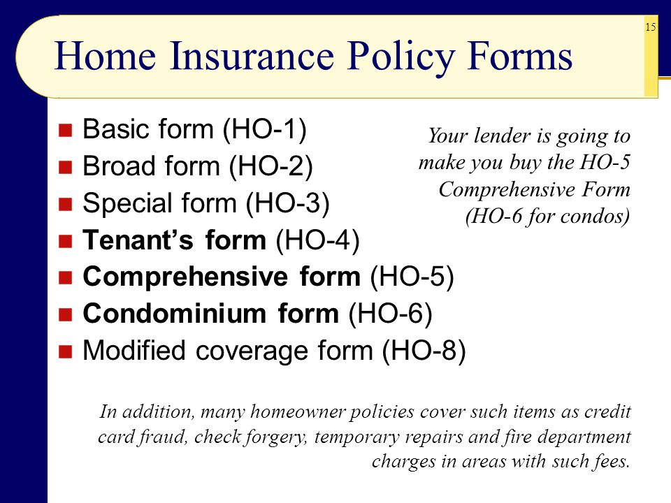 Home Insurance Policy Forms