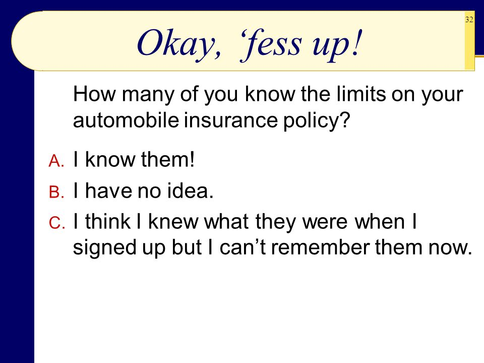 Okay, 'fess up! How many of you know the limits on your automobile insurance policy I know them! I have no idea.