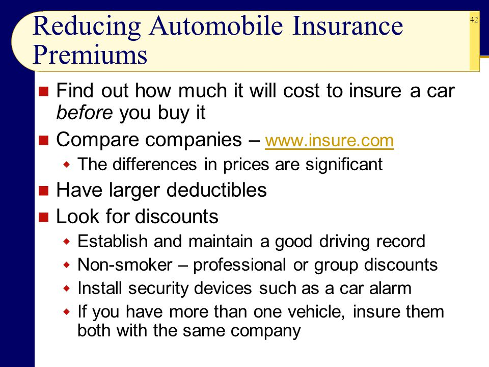 Reducing Automobile Insurance Premiums