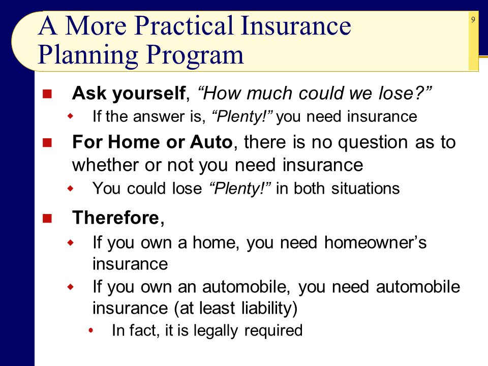 A More Practical Insurance Planning Program