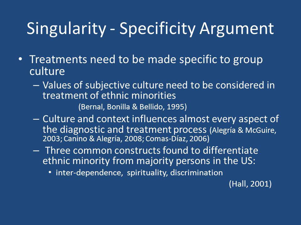 Singularity - Specificity Argument