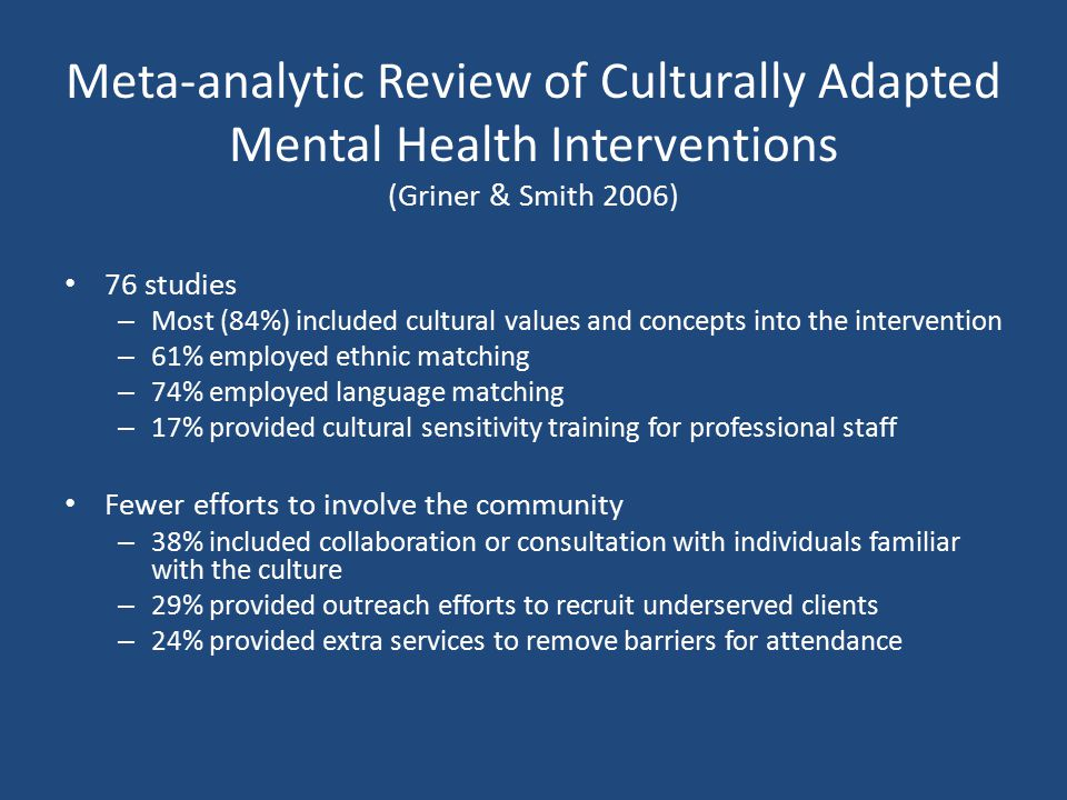 Meta-analytic Review of Culturally Adapted Mental Health Interventions (Griner & Smith 2006)
