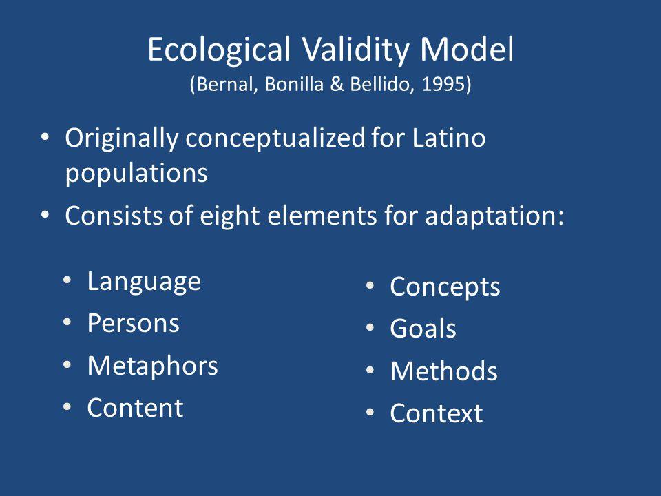 Ecological Validity Model (Bernal, Bonilla & Bellido, 1995)