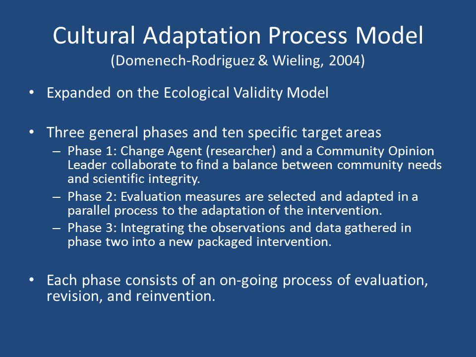 Cultural Adaptation Process Model (Domenech-Rodriguez & Wieling, 2004)