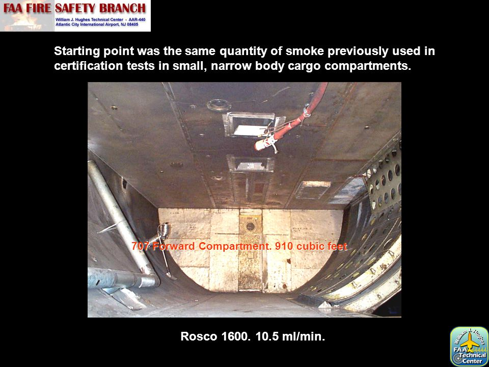 Starting point was the same quantity of smoke previously used in certification tests in small, narrow body cargo compartments.