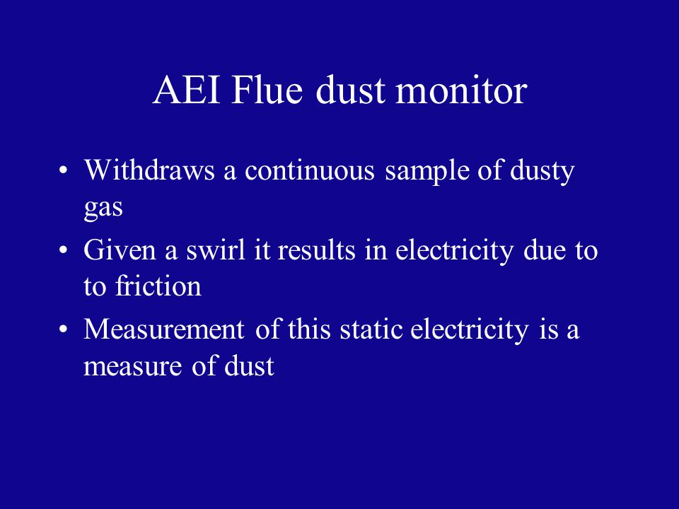 AEI Flue dust monitor Withdraws a continuous sample of dusty gas