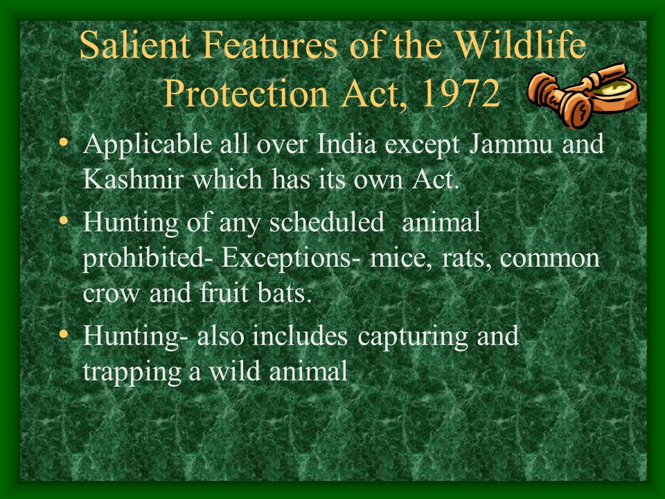 Salient Features of the Wildlife Protection Act, 1972