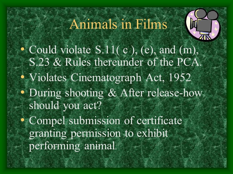 Animals in Films Could violate S.11( c ), (e), and (m), S.23 & Rules thereunder of the PCA. Violates Cinematograph Act, 1952.