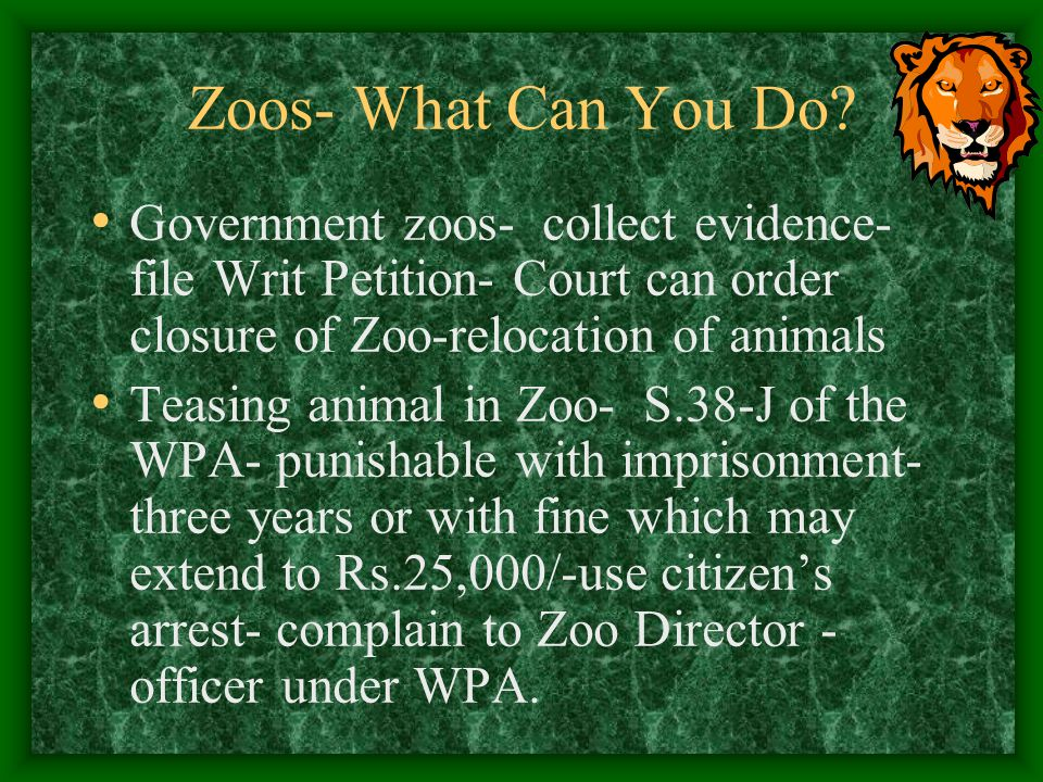 Zoos- What Can You Do Government zoos- collect evidence- file Writ Petition- Court can order closure of Zoo-relocation of animals.