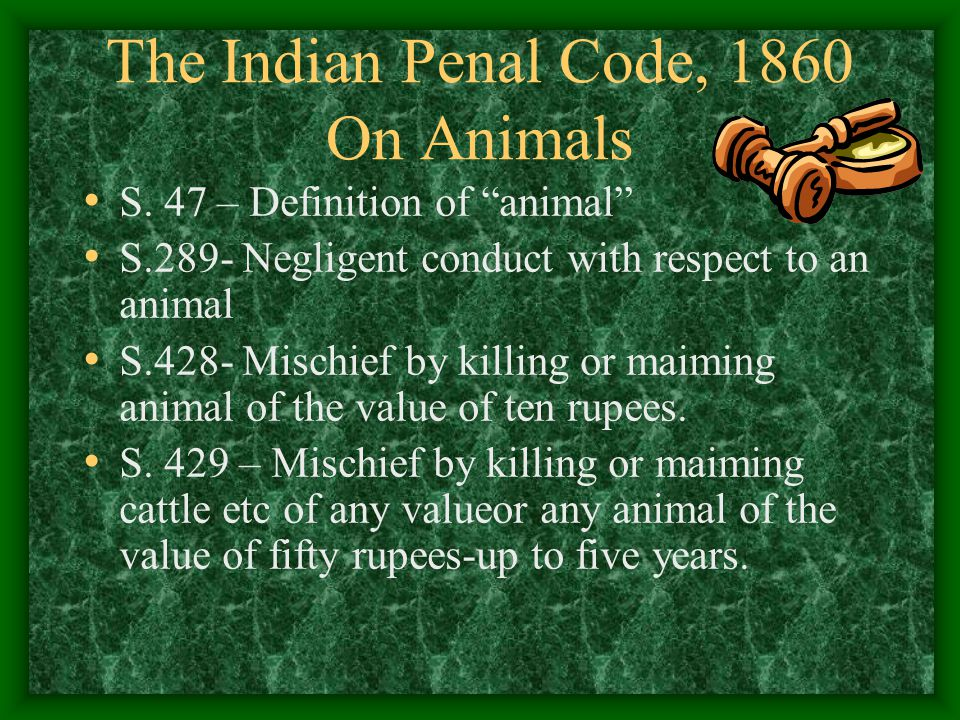 The Indian Penal Code, 1860 On Animals