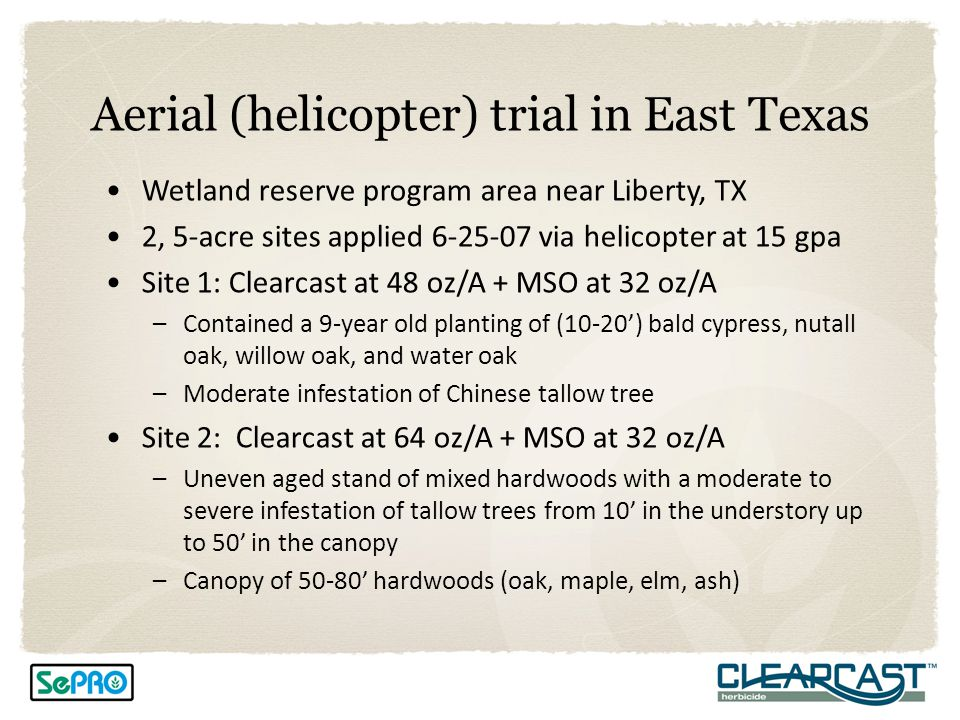 Aerial (helicopter) trial in East Texas