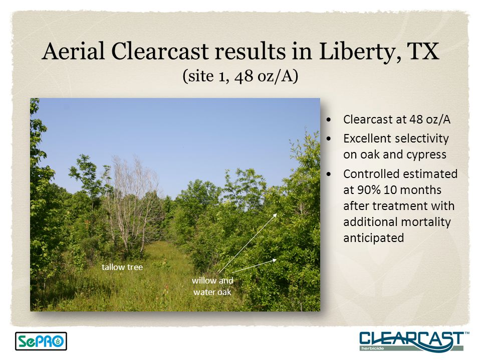 Aerial Clearcast results in Liberty, TX (site 1, 48 oz/A)