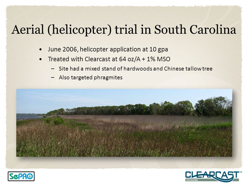 Aerial (helicopter) trial in South Carolina