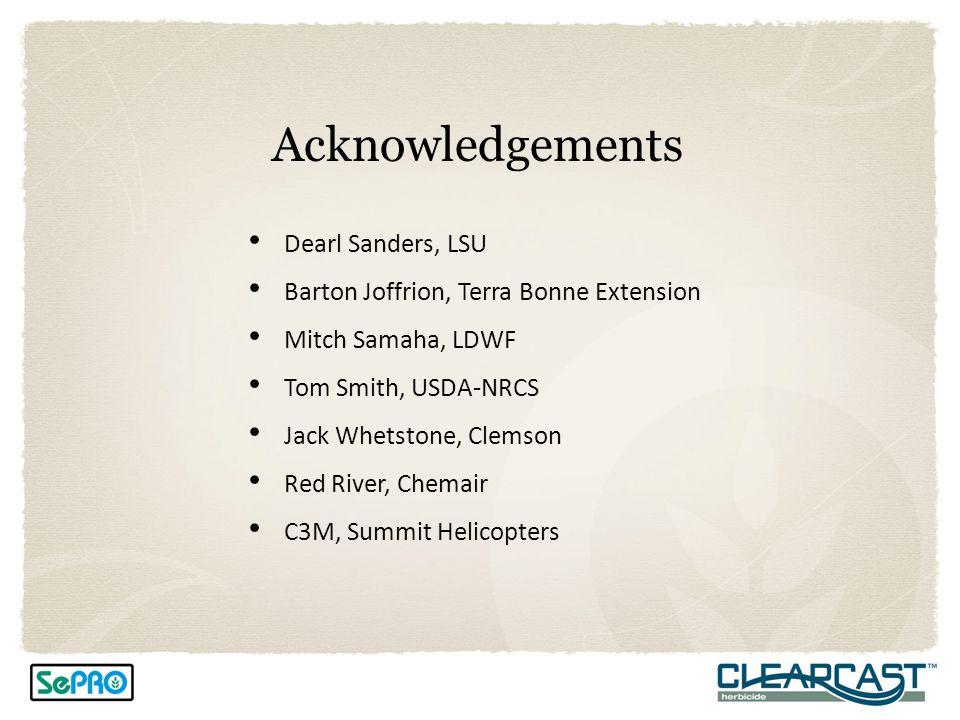 Acknowledgements Dearl Sanders, LSU