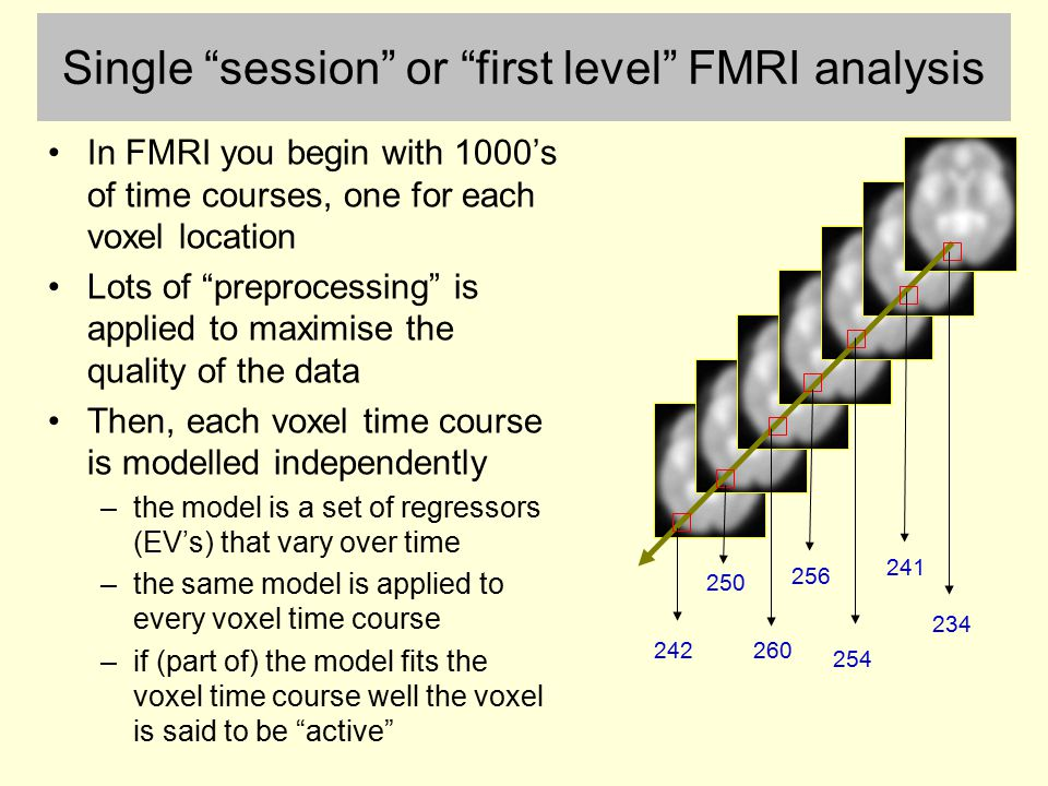 Single session or first level FMRI analysis
