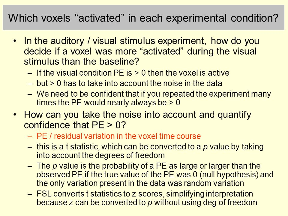 Which voxels activated in each experimental condition