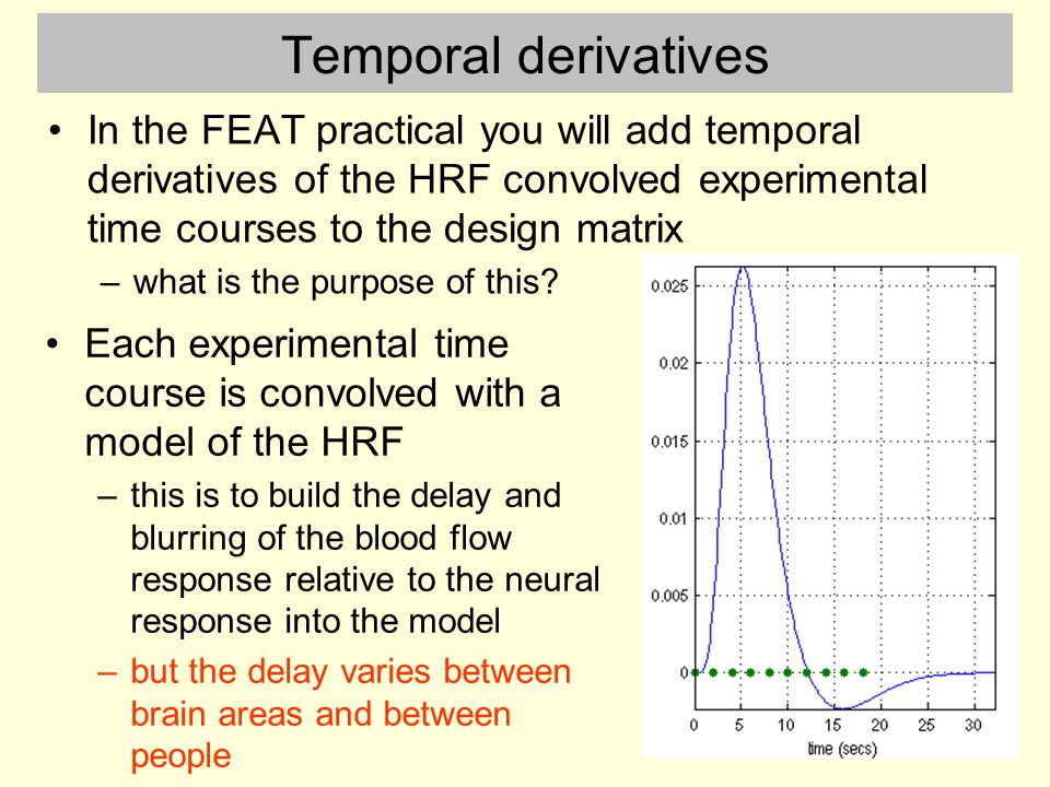 Temporal derivatives In the FEAT practical you will add temporal derivatives of the HRF convolved experimental time courses to the design matrix.