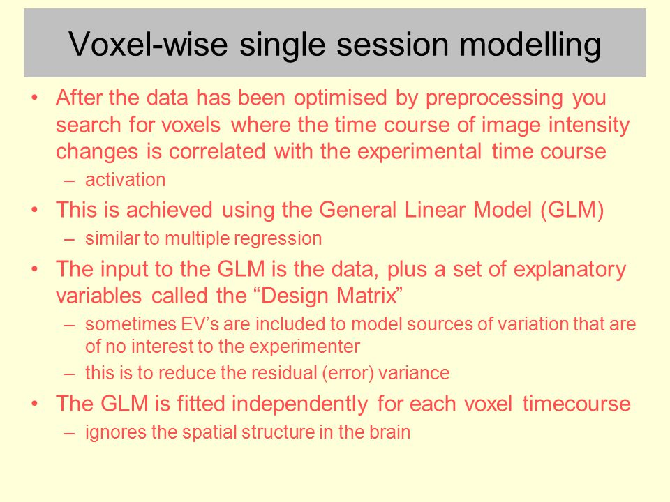 Voxel-wise single session modelling