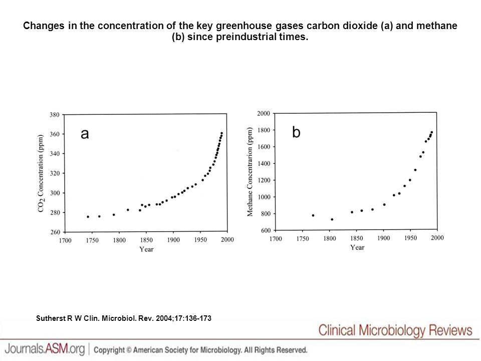 Changes in the concentration of the key greenhouse gases carbon dioxide (a) and methane (b) since preindustrial times.