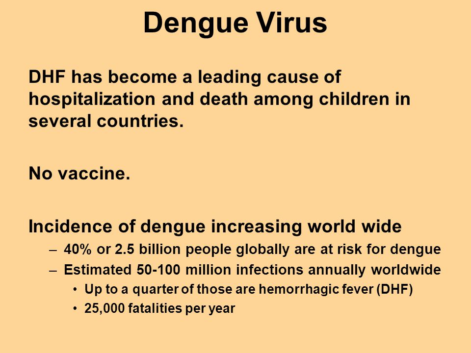 Dengue Virus DHF has become a leading cause of hospitalization and death among children in several countries.