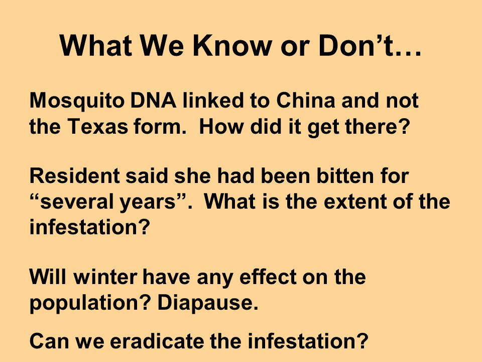 What We Know or Don't…