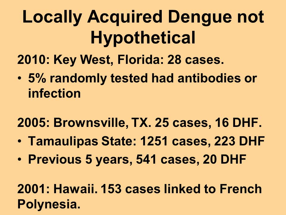 Locally Acquired Dengue not Hypothetical